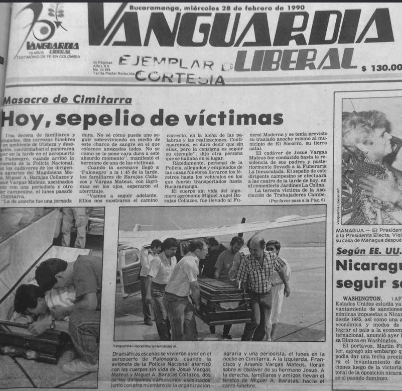 Vanguardia Liberal, febrero 28 de 1990.