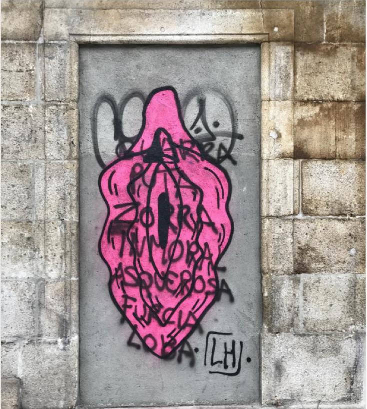 """Tomado del instagram lupita_hard. La artista escribe: """"cuantos adjetivos por pintar un coño. Sois unos valientes""""."""