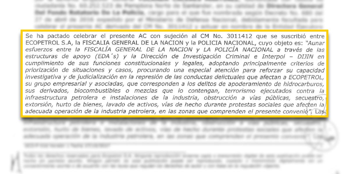 Fuente: Convenio 3011412. Objeto del contrato entre Fiscalía y Ecopetrol