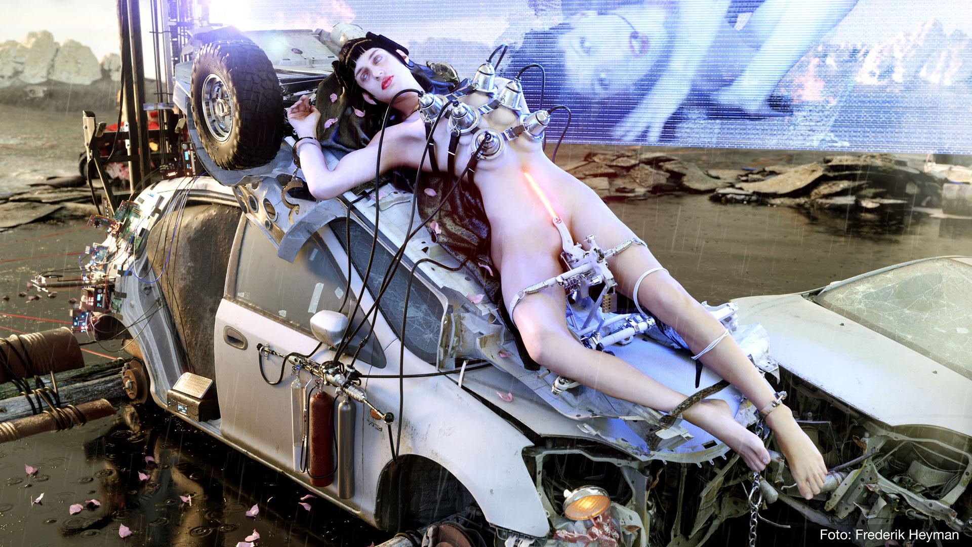 """Diva Experimental, uno de los alter egos de Ghersi, conceptualizada y diseñada junto al artista 3D Frederik Heyman para su pieza """"@@@@@"""". Imagen por Frederik Heyman."""